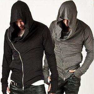Fashion Men Side Zipper Coat Cotton Sports Jacket Diagonal Zipper Mens Assassin's Creed Hoodie Male Coat Tops