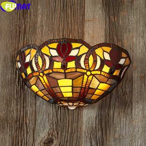FUMAT Stained Glass Wall Lamp Decorative Backlight Porch Light Classical Nordic Mirror Courtyard Lighting Tiffany Style Art
