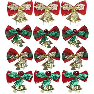 6Pcs Lot Mini Christmas Tree Bow Tie Wedding Xmas Party Decoration Christmas Tree Ornament Colorful Bow Bowknot With Small Bells