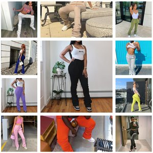 2020 Women Pants New Solid Color Elastic High Waist Pleated Drawstring Casual Pile Leggings Ladies Fashion Autumn Winter Trousers