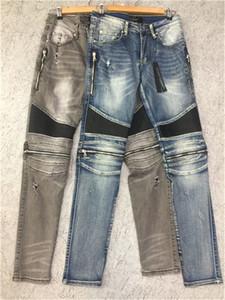 Diseñadores para hombre Rompe Biker Jeans Tamaño de los EE. UU. 28 ~ 42 Slim Fit Motorcycle Biker Denim para hombre Diseñador de moda Hip Hop Hombre Jeans de buena calidad