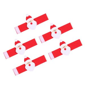 5Pcs Christmas Santa Claus Napkin Holders Non-woven Towel Ring Table Decoration Party Supplies(Red)