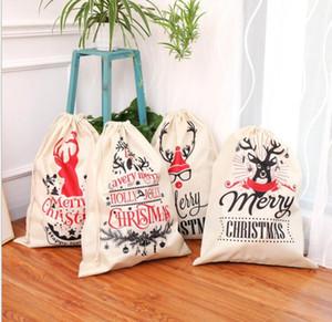 New Canvas Christmas Sants Bag Large Drawstring Candy Bags Santa Claus Bag Xmas Santa Sacks Gift Bags For Christmas Decoration