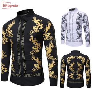 SitesiWeie Erkekler İş Siyah Altın Baskı Gömlek Erkek Elbise Gömlek Standı Yaka Button Up Gömlek Chemise Homme Camisa Masculina G427