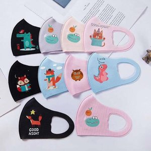 Kids Ice DHB3240 Reusable Mouth Mask Face Cartoon And Kids Children Breathable Face Respirator Masks Silk Cute Cotton Facemask Washable Dipr