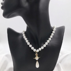 Retro water drop pearl three-dimensional Saturn necklace ins wind planet temperament necklace clavicle chain female sweater chain