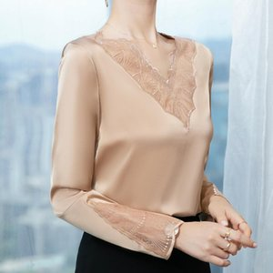 Autumn 2020 New Stretch Long Sleeve women's professional wear solid color with V-neck bottom top blouse tops for plus size
