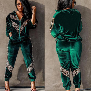 Autumn Winter Velvet Womens Tracksuit Set Jogger Two Piece Set Pants and Top Leopard Patchwork Night Club Outfits Sportswear