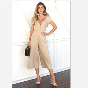 New Fashion 2018 summer Casual Short sleeve jumpsuits v neck straight solid ankle lenght jumpsuits Drop Shipping Good Quality