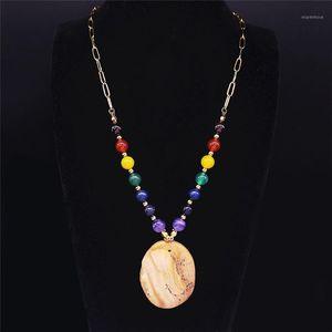 Big Long Long 7 Couleur Chakra Naturel Stone Inox Steel Déclaration Collier Femme Gold Color Coldlace Bijoux Cadenas Mujer N5S041
