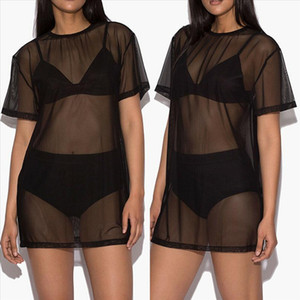 Sexy Women Summer Short Sleeve Solid Beach Dress Swimwear Mesh Bikini Cover Up Bathing Dress Drop Shipping
