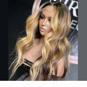 Ombre resaltar peluca marrón miel rubia coloreado 5 * 5 '' Base de seda frente delantero de encaje Pelucas de cabello humano onda de cuerpo T Parte Lace Frontal WIG REMY REMY