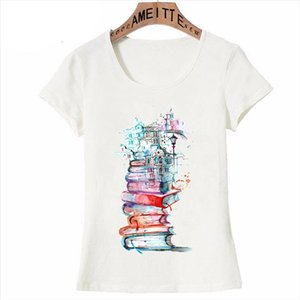 New Summer Women T Shirt Reading City Art Fashion illustration Print T Shirt Woman Casual Tops Books Lovers Cute Girl Tees