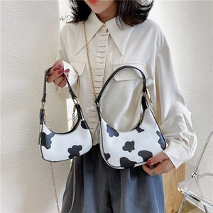 Bags Totes Milk Women Female Handbag Daily Simple Underarm Printed Shoulder Cow PU Travel Fashion Purse Qumwc