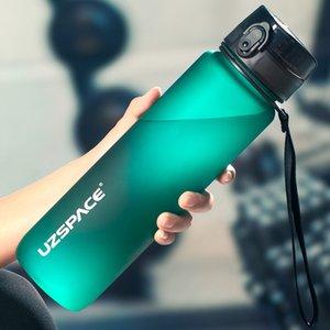 새로운 1000ml 스포츠 물병 BPA 무료 휴대용 누설 방지 셰이커 병 플라스틱 Drinkware 야외 투어 체육관 무료 배송 항목 201114