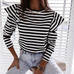 Women Blouse Shirt Striped Ruffle Long Sleeve Womens Blouse Casual Feminine Autumn Fashion Woman Blouses 2020 O Neck Top Female