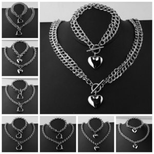 5 6 8MM Silver Color Link Chain With Romantic Heart Bracelet&Necklace Chain Girl's Stainless Steel Jewelry Sets 45 20.5cm Z1201