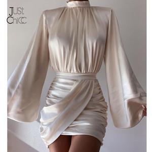 JustChicc Vestido de satén fruncido Mujeres Blancas Mangas de laterna Sexy Party Dress Autumn Night Club Mini Vestidos 2021 Vestdios