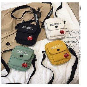 2020 Leinwand Kleine Tasche Weibliche Flut Koreanische Sesamstraße Bungee Bag Mode Alle Match Single Shoulder Messenger Bag
