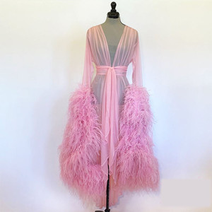 Luxury Ostrich Feather Maternity Dresses V Neck Tulle Maternity Gown for Photoshoot Boudoir Lingerie Bathrobe Nightwear Babydoll