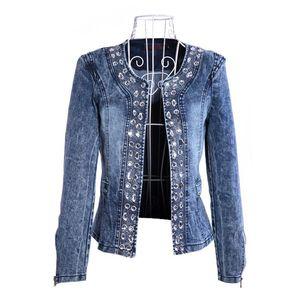 FMFSSOM 2020 New Arrival Spring Antumn Denim Jackets Vintage Diamonds Casual Coat Women's Denim Jacket For Outerwear Jeans A1112
