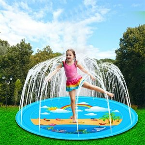170cm Sprinkle And Splash Water Play Mat For Children Outdoor Swimming Beach Lawn Inflatable Sprinkler Pad Yellow Y200728