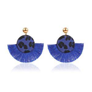 Bohemian Retro Leopard Tassel Dangle Earrings Fan-shaped Round Large Stud Earring Women Fashion Hot Ear Jewelry 6 Colors