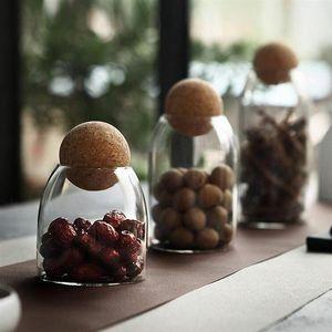 Borosilicate Transparent Glass Ball Cork Sealed Can Storage Tank Grains Storage Jar Container Kitchen Tools