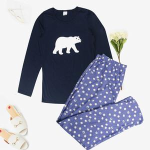 Mukatu pour Sleelewear 100% coton Pajama Femmes Automne Imprimé Mignon 2 pièces Ensemble de pyjama Set Q1201