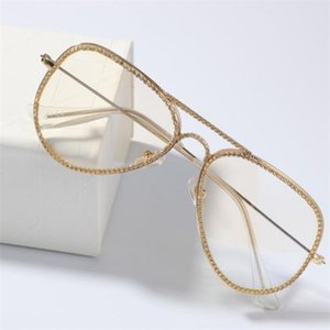 New Fashion Gold Silver Plated Bling Diamond Glasses Frames for Men and Women Iced Out CZ Zircon Hip Hop Plain Glass Rapper Jewelry a632