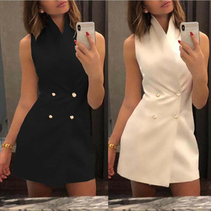 Women Collar Sleeveless Blazer Double Breasted Short Dresses Lapel Button Solid Dress Drop Shipping Good Quality
