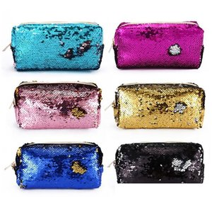 Women Travel Glitter Cosmetic Bag Pencil Box Sequin Makeup Case Gift Portable Makeup Bag Sequins Zipper Brush Organizer Travel Portable