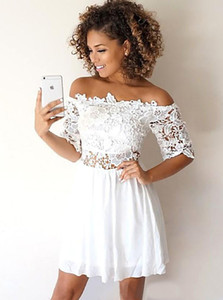 Half Sleeves Lace Homecoming Dresses Short A Line Chiffon Cocktail Party Bride Gowns Bateau Neck Special Occasion Women Wear