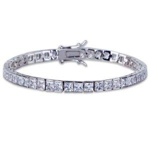 21cm 2020 wedding engagement men jewlery baguette cubic zirconia tennis chain gold silver color sparking bling hiphop bracelet
