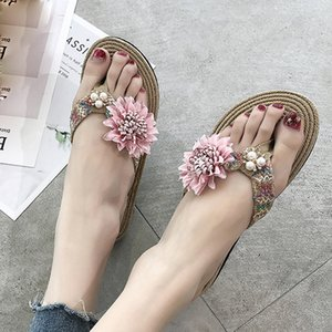 NEW woman slippers 2019 summer Clip-Toe Beach Shoes Summer Pearl Fashion Flowers Flat-Bottomed slipers women home shoes#PY25