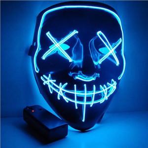 O Partido Halloween Up Máscara Máscaras LED Purge Luz Eleitoral Ano Grande Máscaras Engraçadas Festival Cosplay Fato Fileja Fulgor em DZQ