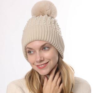 2020 New Arrival Women Winter Outdoor Hat Warm Knitted Beanie Pom Hat Ladies Crochet Ski Cap