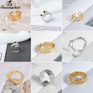 Shuangshuo Gothic Punk Geometrische Ringe Glatte Geopend Einstellbar für Frauen Party Schmuck Geschenke Vintage Weave Form Ring