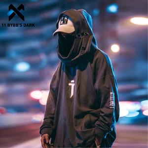 11 Bybb Karanlık Japon Streetwear Hoodie Erkekler Harajuku Boyun Balık Ağız Kazaklar Sweatshirt Büyük Boy Hip Hop Kapüşonlular Techwear