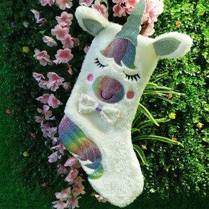 Wholesale Christmas Stocking Unicorn Patterns Xmas Stocking Christmas Gift Decorations Santa Socks Holder With Light DOM-1081401