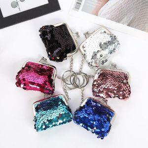 Sequins Hasp Coin Wallet Little Girls Mermaid Magic Sequin Clutch Handy Purse Key Coin Bag Card Keys Earphone Bags WY1109
