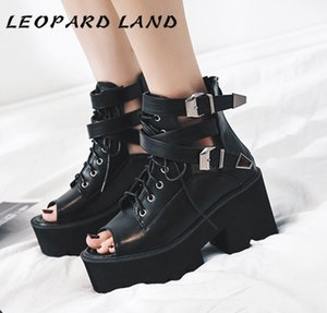 LEOPARD LAND Women Black Platform Square girls Summer Thick-soled Muffin Belt Buckle Chunky Heels Sandals JXQ-8354 Q1208