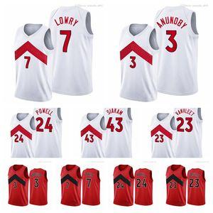 Мужчины женщины молодежи 7 кайл Lowry Pascal 23 Siakam Fred Vanvleet 3 красный значок Новая Униформа 24 Powell 2020-21 Белый баскетбол Джерси