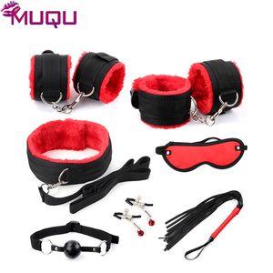 New black with red ribbon plush 7 pieces bondage set restraints adult bdsm games bondage kit sex toys for couples sex products Y201118