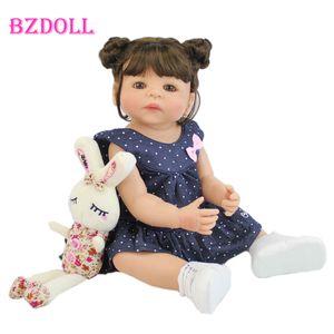 55cm Full Silicone Body Vinil Reborn Girl Lifelike Bebê Boneca Newborn Princesa Toddler Toy Bonecas Presente Aniversário Impermeável q1124