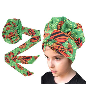 New Kids girls Turban Hat women Extra Large Satin Lined Bonnets Hat African Ankara Long Ribbon Headwrap Ankara Hair Bonnet Hat