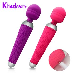 Frau Khalesex Oral Clit Magic Toys Frauen USB Ladung Q1119 Sex Zauberstab Vibrator für Erwachsene Vibratoren Masturbator Massagegerät Leist Für AV B Ombi