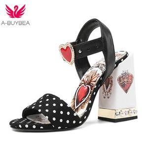 Novas mulheres sandálias de couro genuíno bolinhas coração pérola doce senhoras sapatos verão salto alto mulheres sandalias mujer y200702
