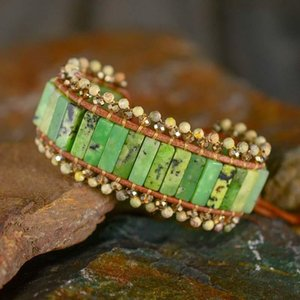 Rectangular Stone Leather Bracelets Australian Jade Wristband Bracelet Boho Jewelry For Women Gift Dropshipping