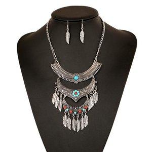 2020 Boho Choker Vintage Collar Big Bohemian Fashion Maxi Necklace Leaf Tassel Statement Necklace For Women Jewelry Wholesale